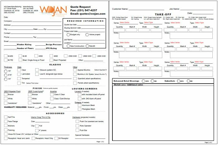 Request For Quote Prepossessing Request A Quote  Wojan Window & Door Corporation