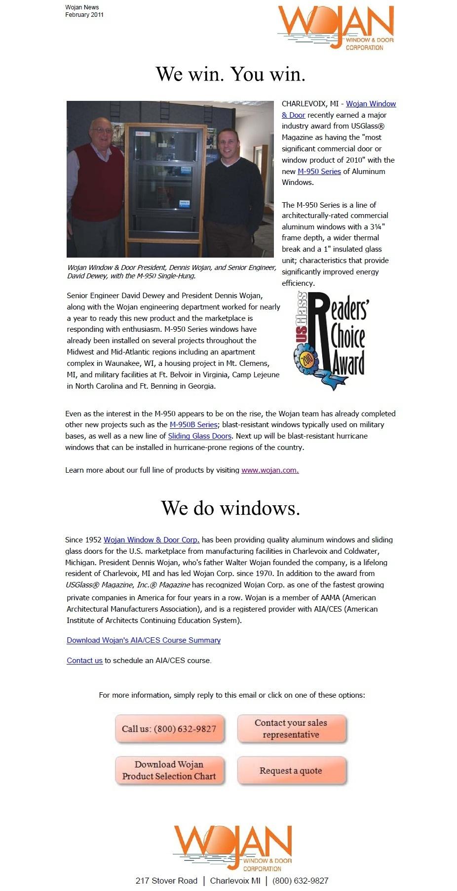 Email Newsletter Archive - Wojan Window & Door Corporation