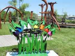 Kinderbells Sculpture, photo courtesy of Cadillac News