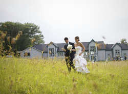 A Bride and Groom enjoy summer at the fae