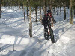 Fat tire biking on the pathway NEW Winter Sports Trail