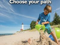 """The 2014 Travel Planner utilized our latest """"Choose your path"""" campaign photo from Crisp Falls."""