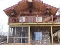 Front of Aqua Log Cabin