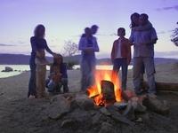 Bonfire on shores of Lake Superior