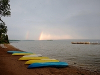 rainbow by the beach